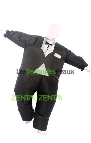 Mega déguisement seconde peau noir blanc smoking combinaison intégrale  zentai aeeca8b0a62