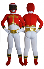 Power Ranger enfant costume rouge jaune spandex lycra catsuit