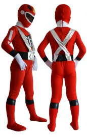 Power Rangers enfant costume rouge argent spandex lycra zentai suit