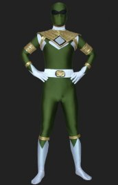 Power Ranger Mighty Morphin vert or lycra déguisement seconde peau