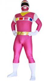 Déguisement Power Ranger In Space rose blanc Spandex Lycra costume